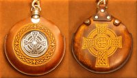 Flask Pouch Celtic Cross in Tan & Chocolate