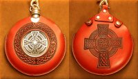 Flask Pouch Celtic Cross in Red