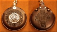 Flask Pouch Celtic Cross in Mahogany