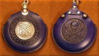Flask Pouch Skull in Blue