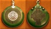Flask Pouch Celtic Cross in Green