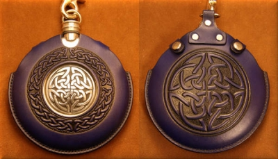 Flask Pouch Celtic Knot in Blue