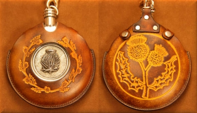 Flask Pouch Thistle in Tan and Chocolate