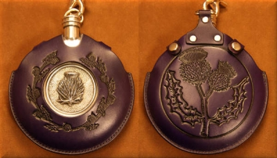 Flask Pouch Thistle in Purple
