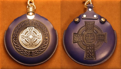 Flask Pouch Celtic Cross in Blue
